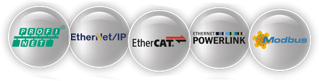 PROFINET, EtherNet/IP, Modbus TCP, EtherCAT, Powerlink